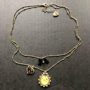 Betsy Johnson Gold Clock Bow Heart Necklace
